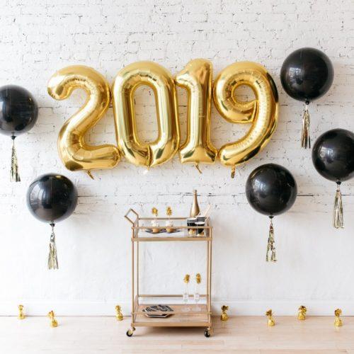 Комплект шаров цифр 2019 Золото b Чернымt шарs 3D с кисточками Тассел