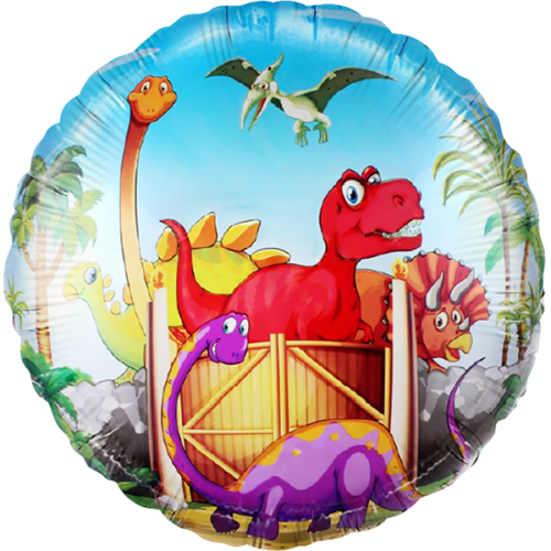 Шар 46 см Круг Динозаврики