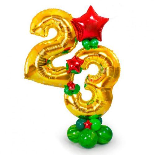 Стойка на 23 февраля из воздушных шаров Красный и Зеленый