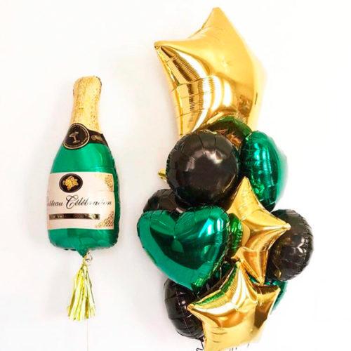 Комплект из шаров Шампаское и Связка с грузиками на 23 февраля