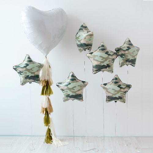Комплект из шаров для фотосессии Сердце и Звезды