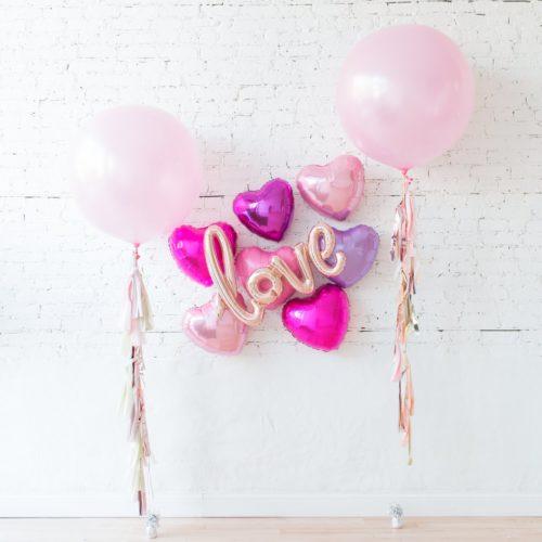 Комплект из шаров с воздухом Сердца и Надпись и 2 Больших шара