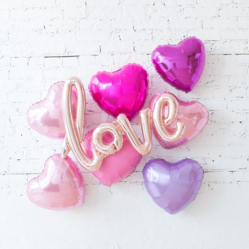 Комплект из шаров с воздухом Сердца и Надпись