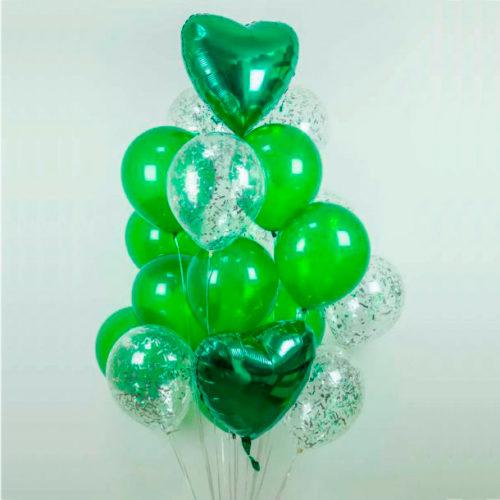 Связка из шаров Сердца Зеленый