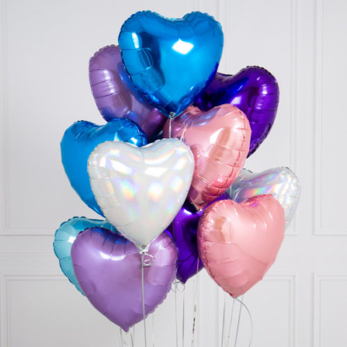 Связка из 10 шаров Сердца Ассорти Голубые Розовые Сиреневые тона