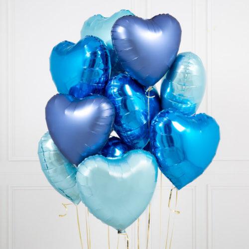 Связка из 10 шаров Сердца Ассорти Голубые тона