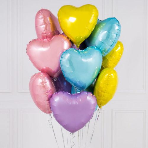 Связка из 10 шаров Сердца Ассорти Желтый Розовый Голубой и Сиреневый