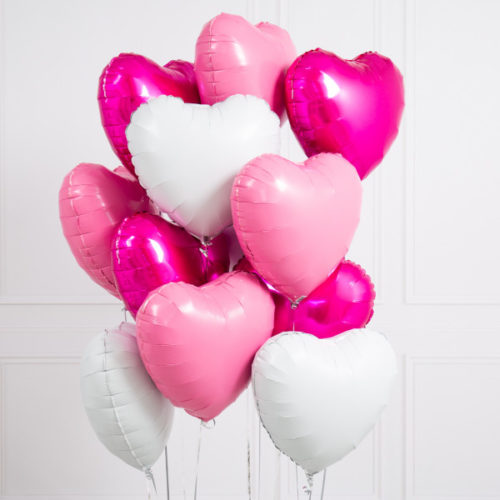 Связка из 10 шаров Сердца Ассорти Розовые и Белые тона