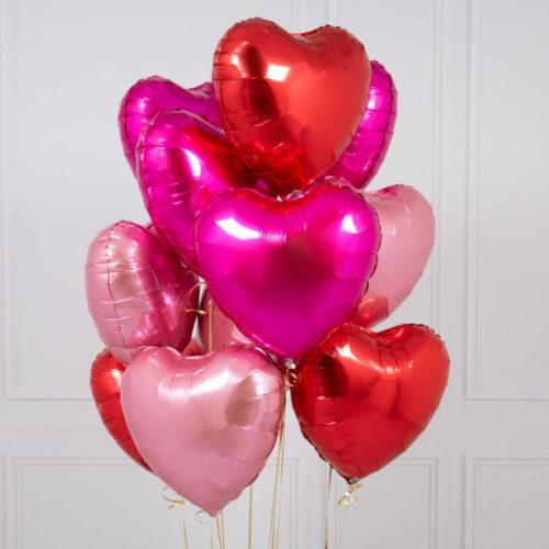 Связка из 10 шаров Сердца Ассорти Розовые и Красные тона