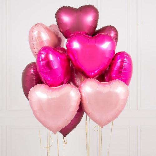 Связка из 10 шаров Сердца Ассорти Розовые тона и Гранат