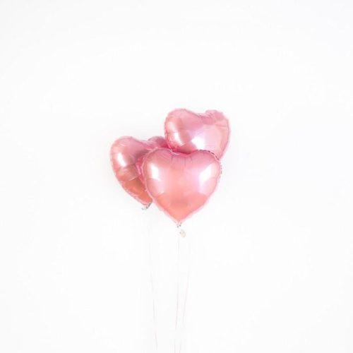 Связка из 3 шаров Сердца Розовые