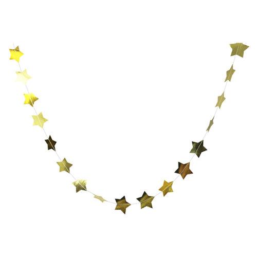 Бумажное украшение подвеска Звезды 5 см gold фольга 120 см