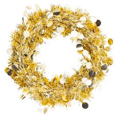 Венок мишура подвесной золотой 30 см