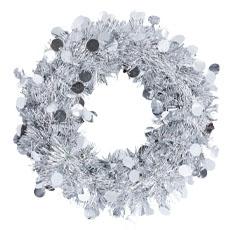 Венок мишура подвесной серебряный 30 см