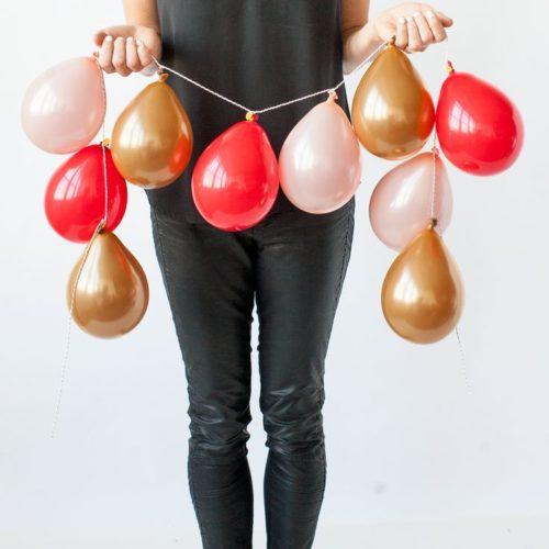 Гирлянда из 10 шаров Мини Красный Золото Персик