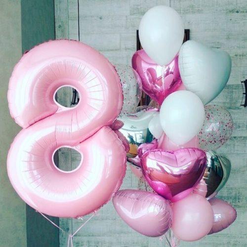 Комплект шаров Розовый и Белый с Шаром Цифрой 8 и Сердцами