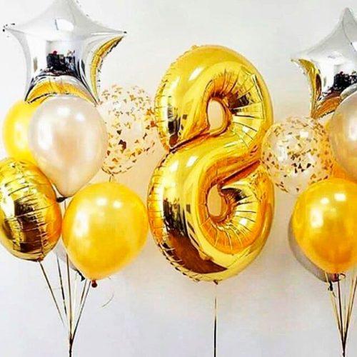 Комплект шаров Серебро и Золото с Шаром Цифрой 8 и Звездами