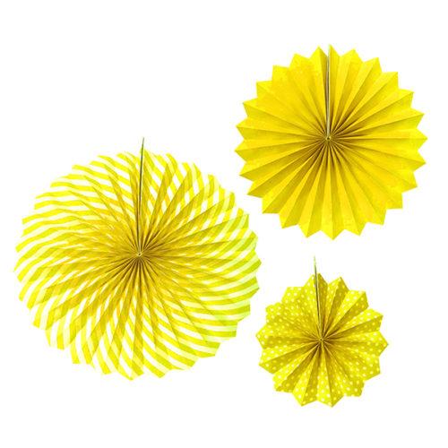 Набор бумажных фантов 20 - 30 - 40 см Желтый 3 штуки