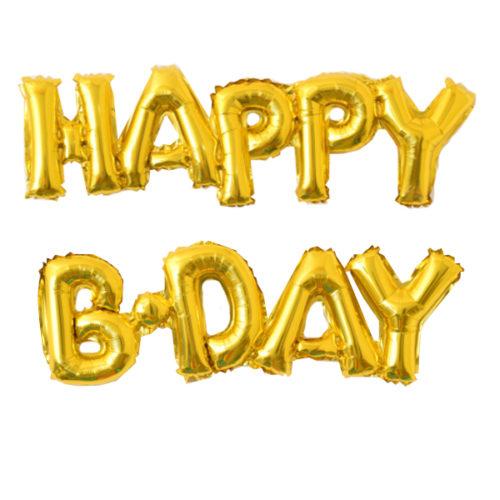 Фигурный шарик из фольги буквы HAPPY B-DAY GOLD 59 см Х 90 см