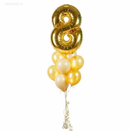 Фонтан из восьми шаров с цифрой