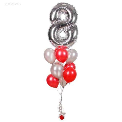 Фонтан из десяти шаров с цифрой