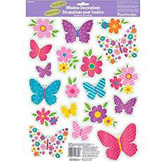 Наклейка на окно Бабочки весенние блеск 19 штук