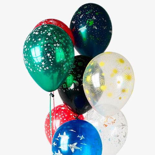 Связка из 10 воздушных шаров Небо Космос Звезды Микс