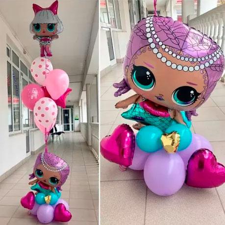 Фонтан из шаров с Куклами LOL и сердечками