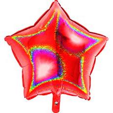 Шар 46 см Звезда Красная Голография
