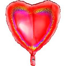 Шар 46 см Сердце Красная Голография