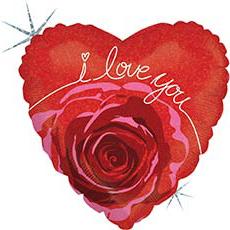Шар 46 см Сердце ILY Роза в красном сердце блеск