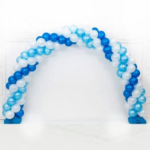 Арка плетеная из шаров Белый Голубой Синий Витая