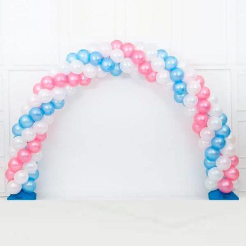 Арка плетеная из шаров Белый Розовый Голубой Витая