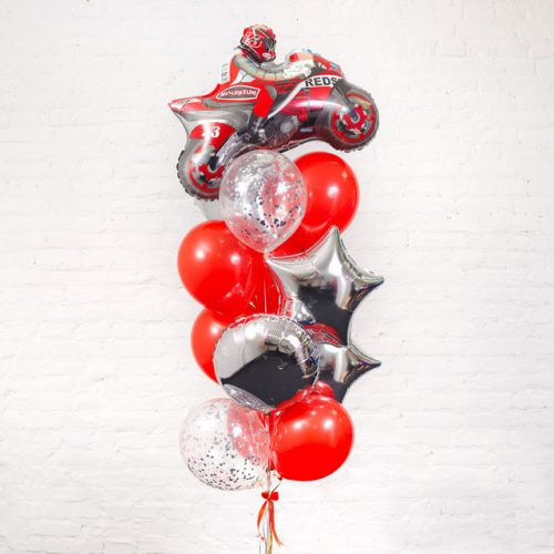 Связка из шаров Серебро и красный с Мотоциклом