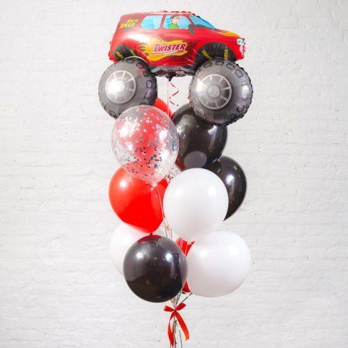 Связка из шаров с Джипом Черный Белый и Красный