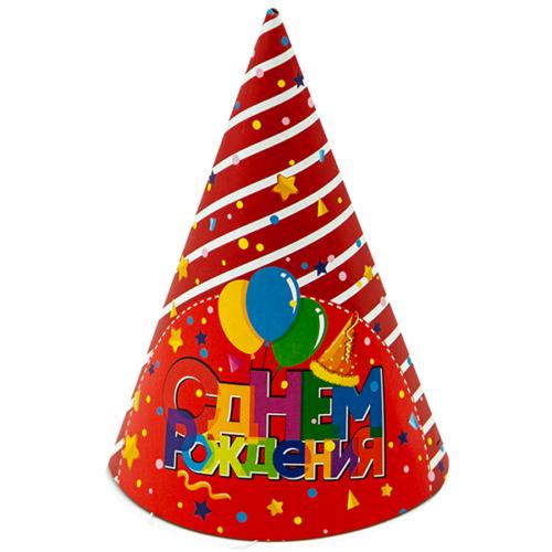 Колпаки С Днем Рождения Торт и шарики Красный Белый 6 штук