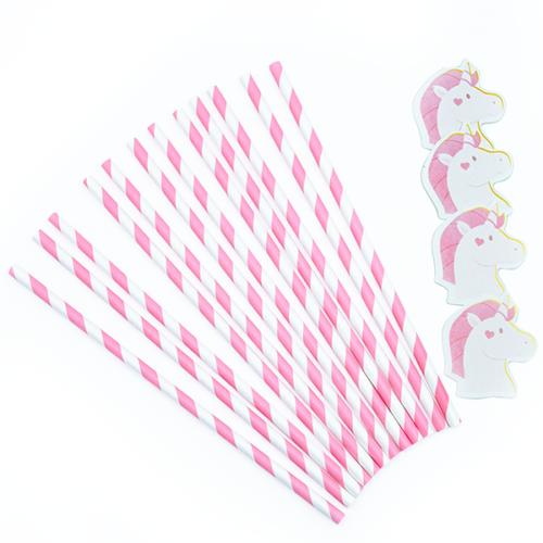 Трубочки для коктейлей Единороги Розовый 12 штук
