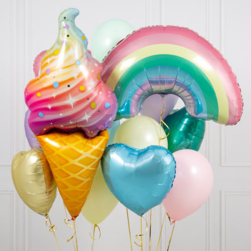 Связка шаров Мороженое и Радуга