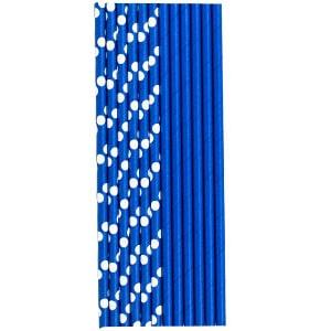 Трубочки для коктейля бумажные Горошек синяя 12 штук
