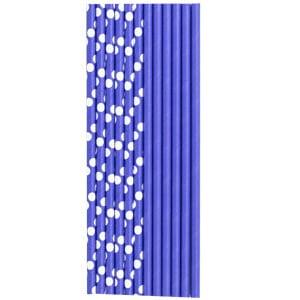 Трубочки для коктейля бумажные Горошек фиолетовая 12 штук