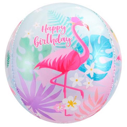 Шар 61 см Сфера 3D С Днем Рождения Фламинго