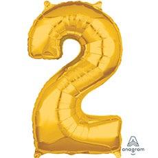 Шар 66 см Цифра 2 Золото