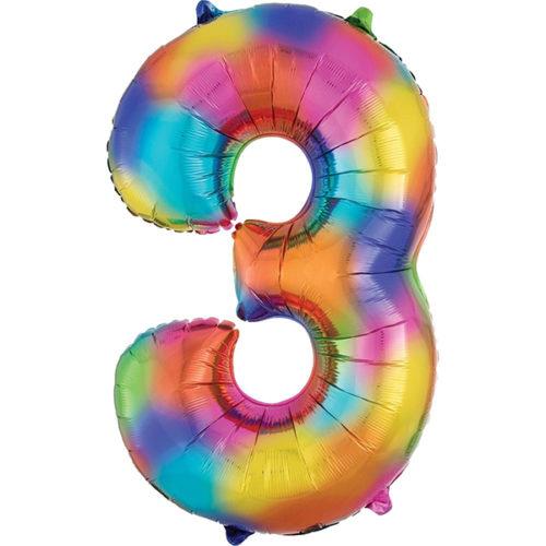 Шар 86 см Цифра 3 Всплески Радуга