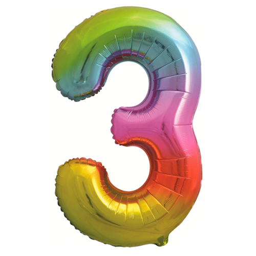 Шар 86 см Цифра 3 Яркая радуга Градиент