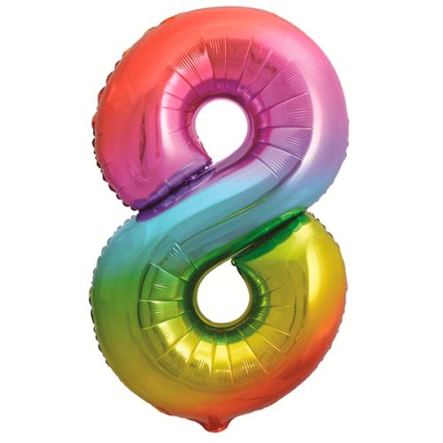 Шар 86 см Цифра 8 Яркая радуга Градиент