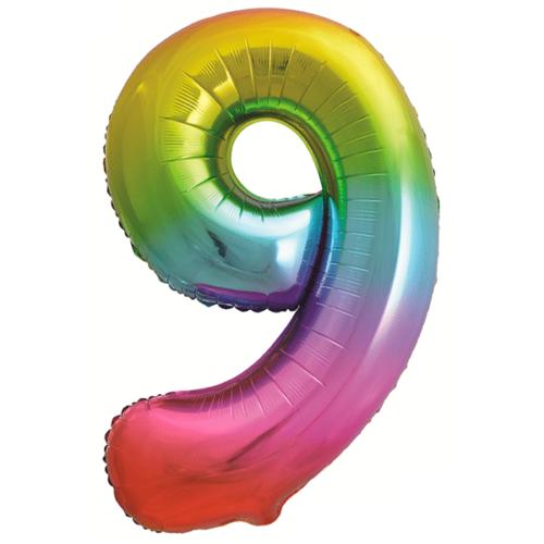 Шар 86 см Цифра 9 Яркая радуга Градиент