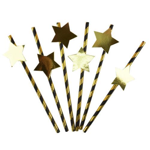 Трубочки для коктейля с золотой Звездой 12 штук