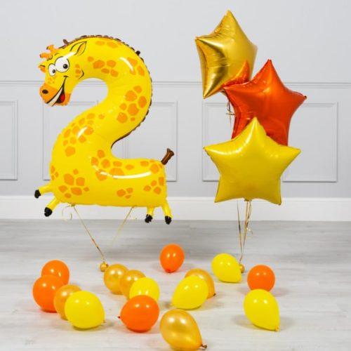 Комплект из шаров на ДР Цифра 2 Жираф