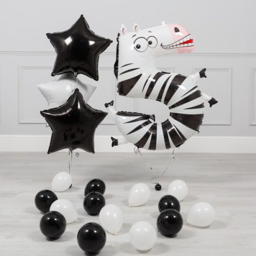 Комплект из шаров на ДР Цифра 5 Зебра
