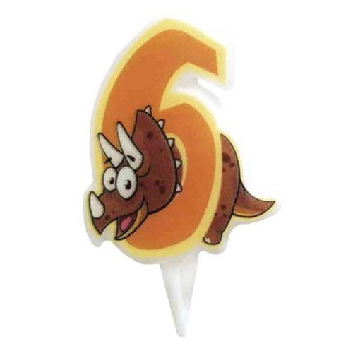 Свечи цифры для торта 6 Динозавр 5 см